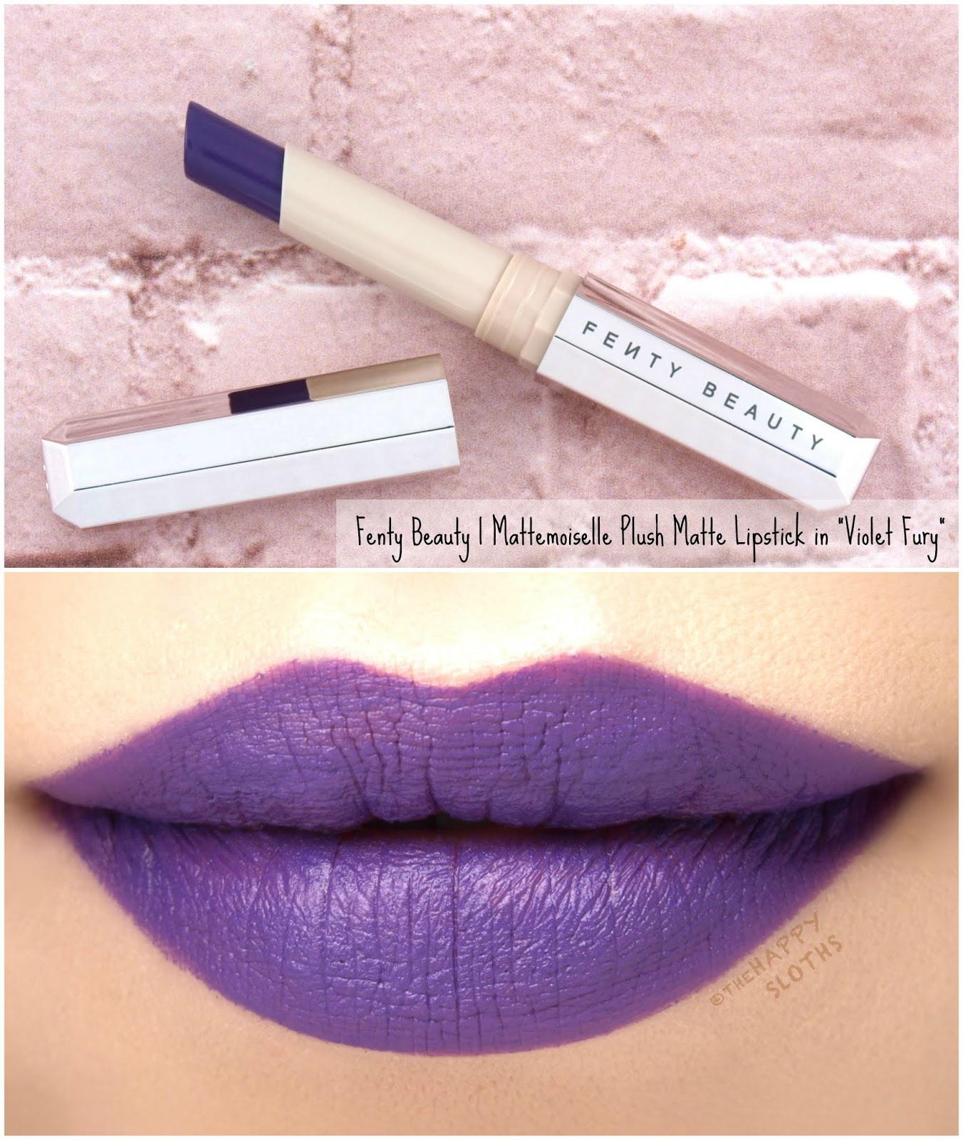 "Fenty Beauty by Rihanna | Mattemoiselle Plush Matte Lipstick in ""Violet Fury"": Review and Swatches"