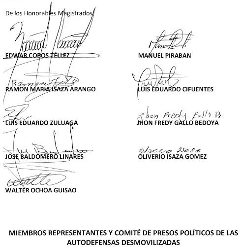 Carta a Honorables Magistrados del Tribunal Superior del Distrito Judicial de Bogotá