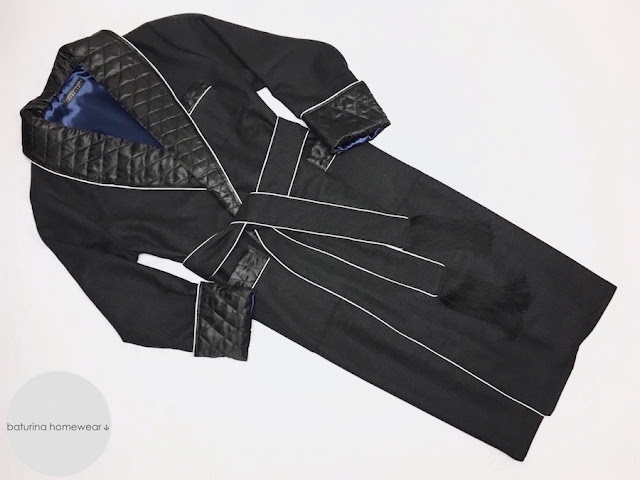 mens full ankle length wool dressing gown quilted silk collar woolen luxury robe long