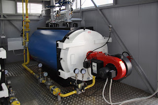 gas fired boiler in equipment room