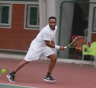 SPORTS: Retired pro footballer, Jay-Jay Okocha tries to get back in shape through tennis