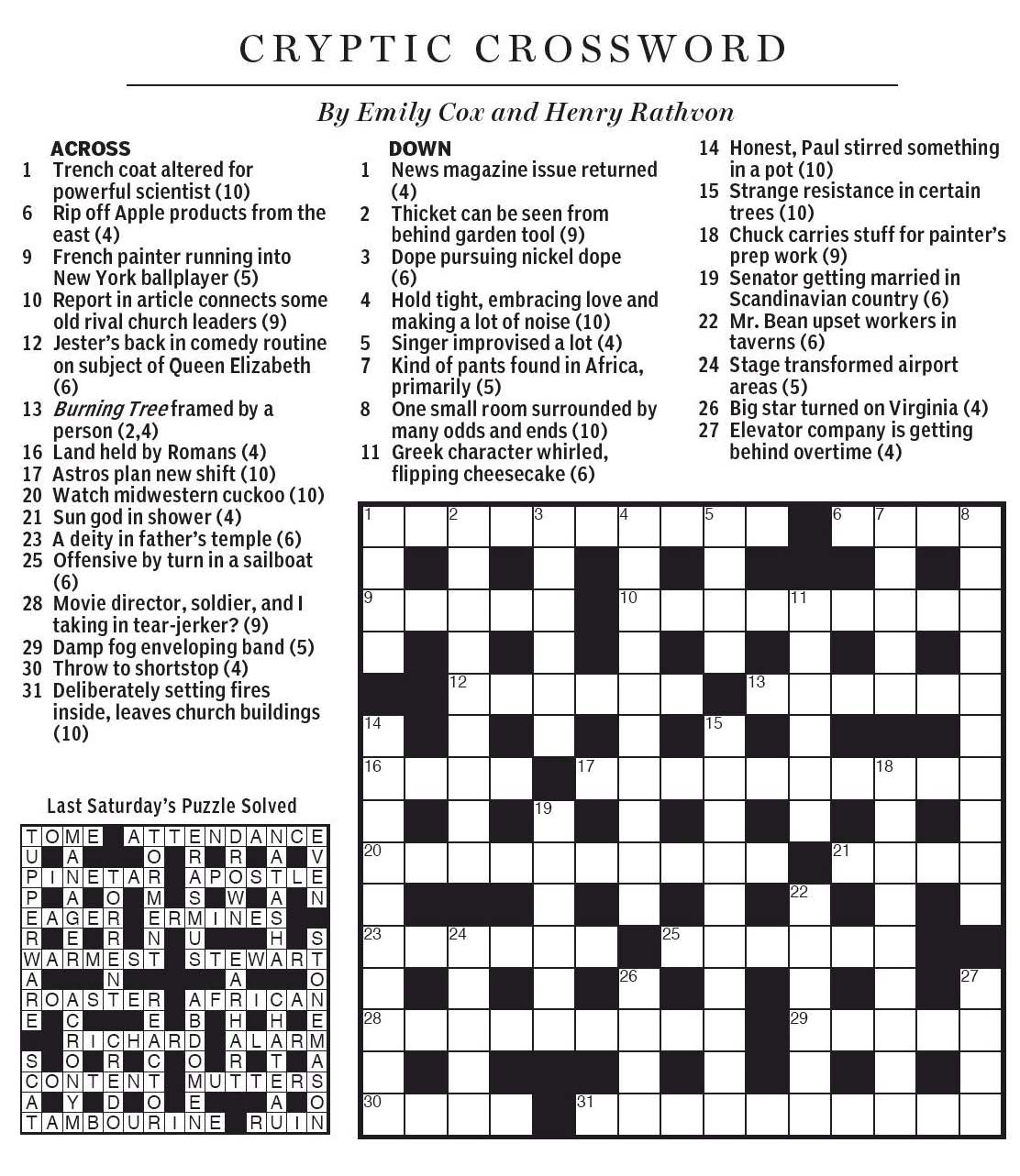 National Post Cryptic Crossword Forum Saturday September 19 2015 Lost In The Bushes