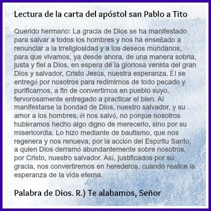 Palabra De Dios: Lectura de la Carta del Apostol San Pablo a Tito