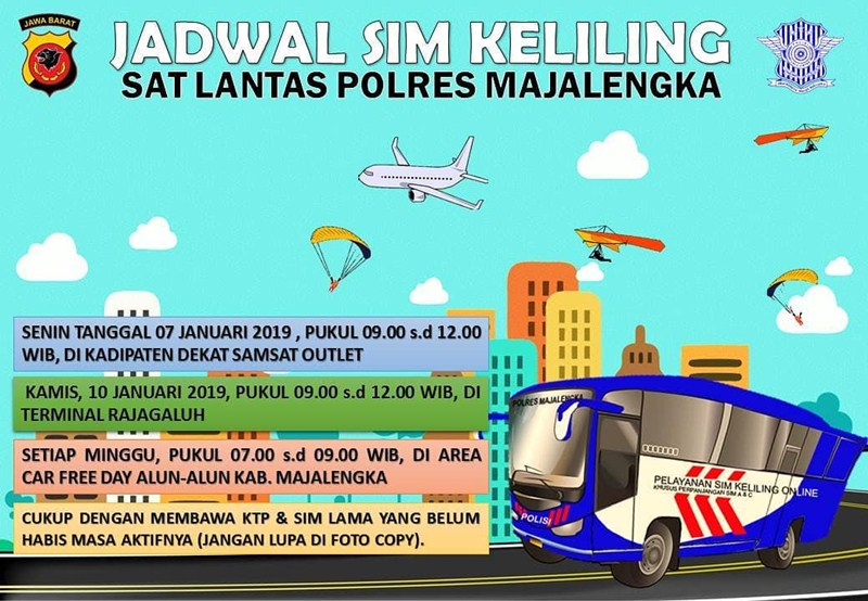 Jadwal SIM Keliling Majalengka Januari 2019 - IGsatlantas_mjlk