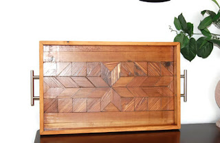 lakefront woods serving tray made of reclaimed wood
