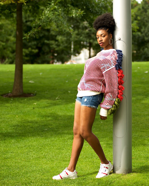 model bright jumper standing