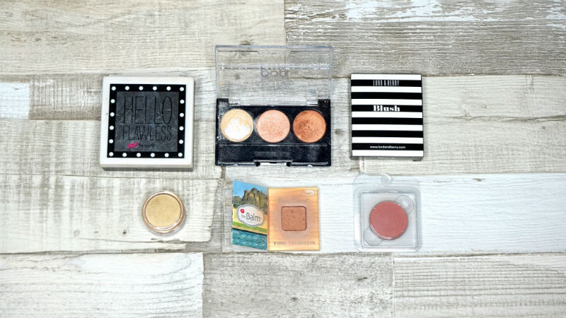 Face powder, eyeshadows, blush, bronzer