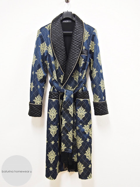 Men's quilted silk dressing gown paisley cotton robe