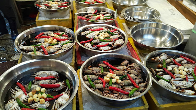 Crab kimchi at Gwajang market in Seoul