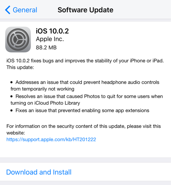Apple iOS 10.0.2 Changelog