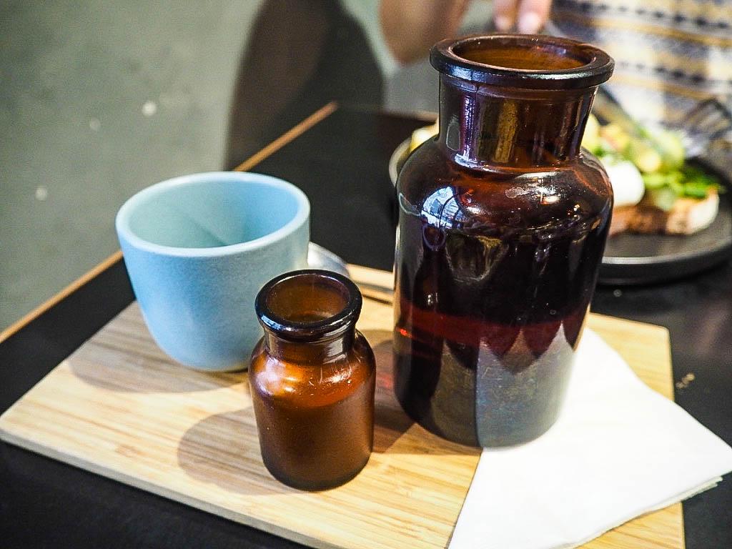 Tea served in a bottle