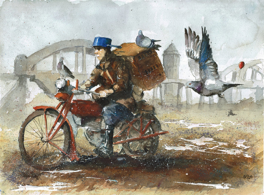 24-The-pigeon-fancier-Grzegorz-Chudy-sanderus-Dreams-Started-with-Watercolor-Paintings-www-designstack-co