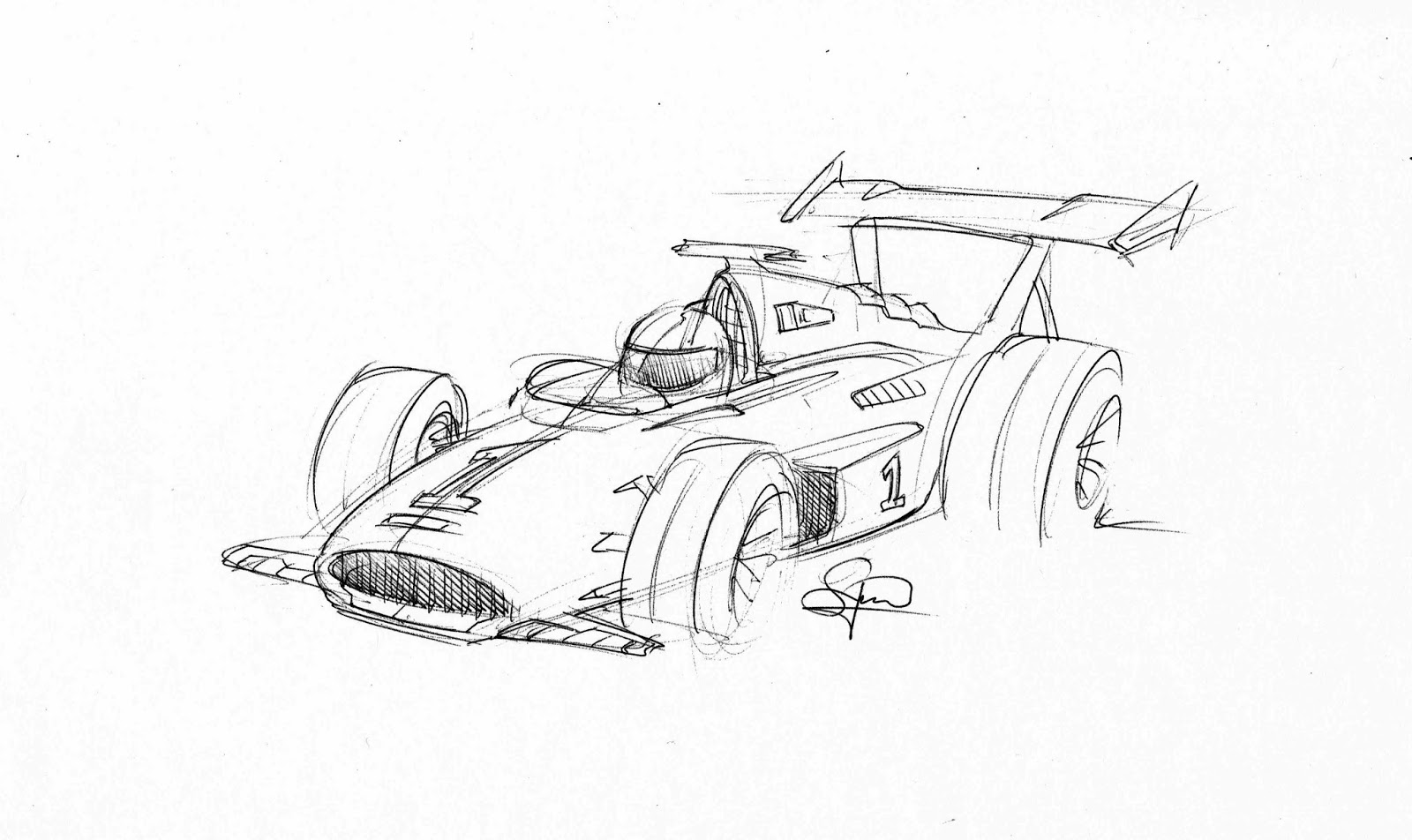 hight resolution of quick old school f1 car sketch