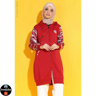 Hijacket Army Sweet Red Jaket Muslimmah Premium Camuflashion