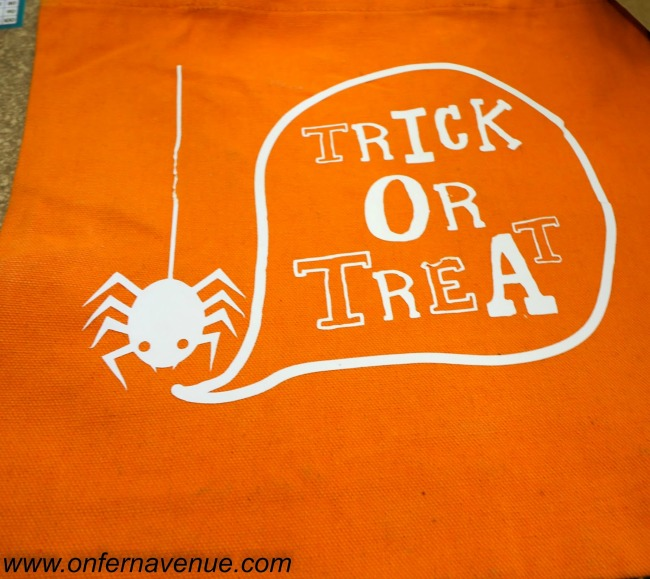 heat transfer trick or treat bags, iron on bags