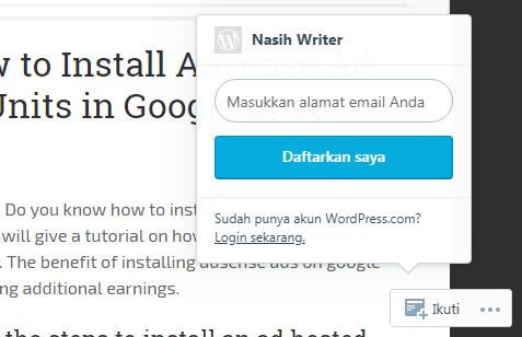 Gambar pop up untuk memasukkan email guna follow blog wordpress