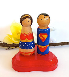 Unique Superman and Wonder woman Wedding Cake Topper