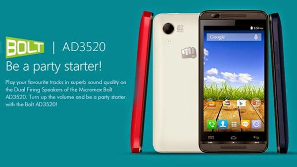 MicromaxBolt AD3520: 3.5 inch,1.3GHz Cheapest Android KitKat Smartone Specs Rs.3490