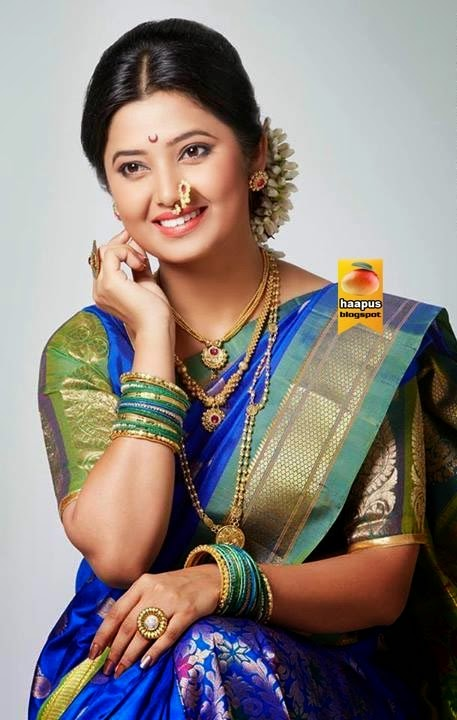 Prajakta Mali Cute Photos In Saree  Cute Marathi -6869