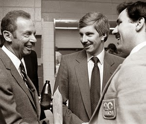 Yvon Labre (R) in his TV-20 blazer, owner Abe Pollin, GM David Poile