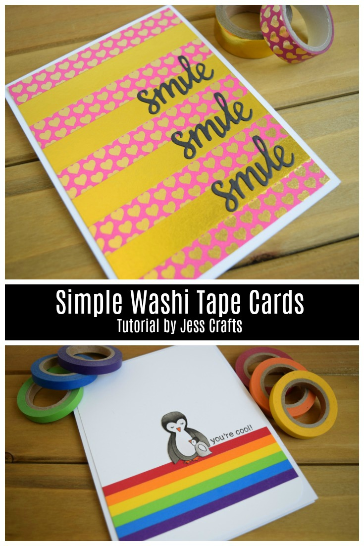 Simple Washi Tape Cards by Jess Crafts with video tutorial