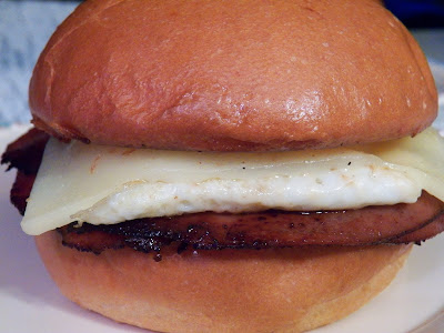 A Fried Bologna and Egg Sandwich, Closeup