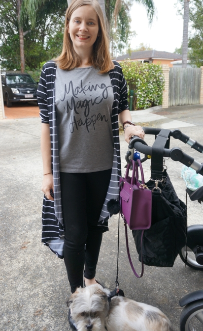making magic happen tee, stripes, monochrome outfit purple bag | AwayFromBlue