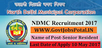North Delhi Municipal Corporation Recruitment 2017– Senior Resident