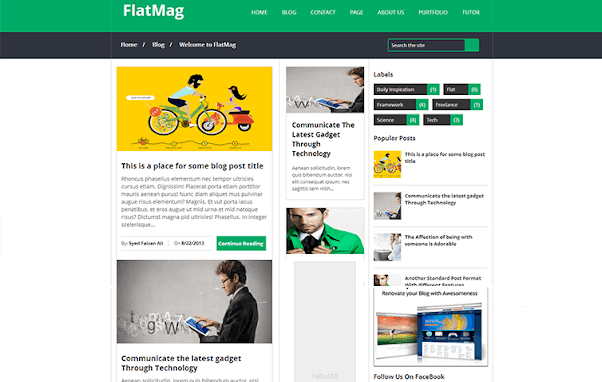 Flat Mag Free Blogger Template