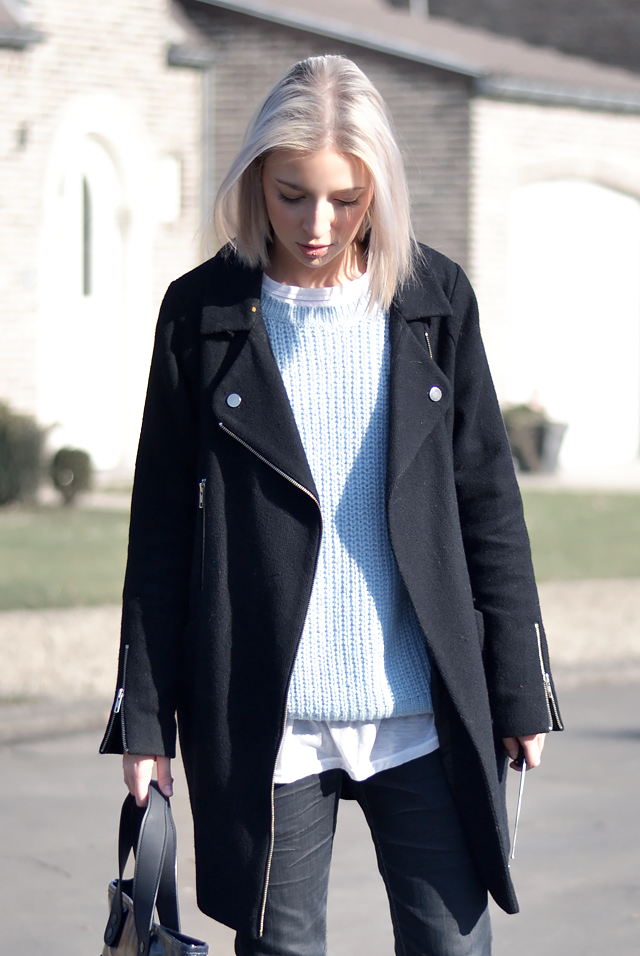 detail, winter coat, asos, biker, baby blue, light blue, layers, marc by marc jacobs bag