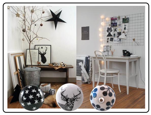 bouton de meuble noir et blanc
