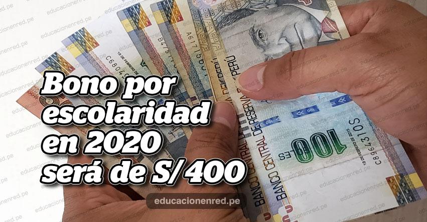Bono por escolaridad 2020 será de S/ 400, según Ley del Presupuesto del Sector Público aprobado por Decreto de Urgencia N° 014-2019