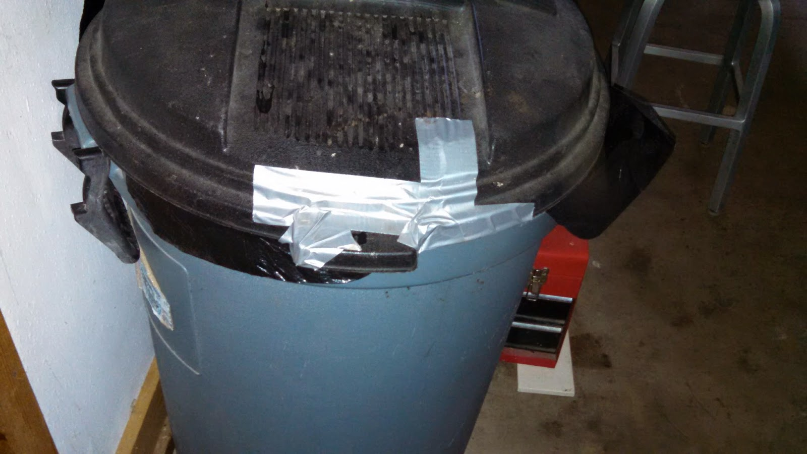Garbage Can Repaired with Duct Tape