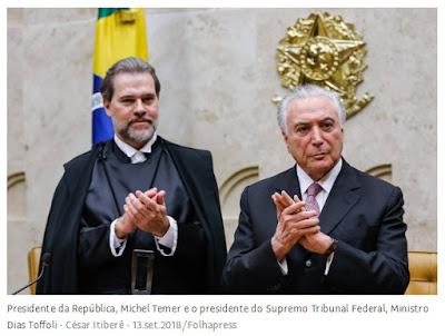 Toffoli e Temer na solenidade dos 30 anos da Constituição