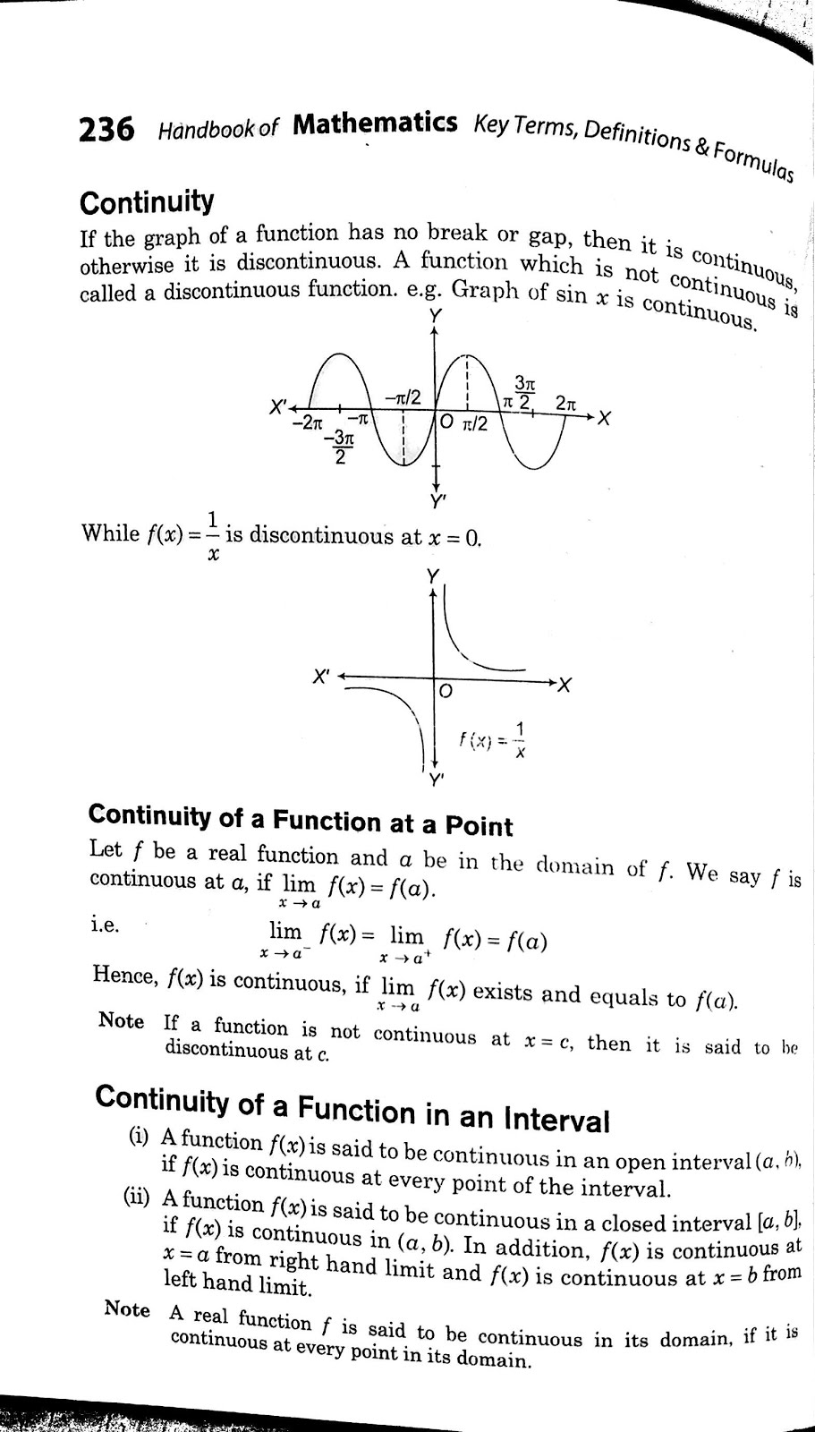 Continuity and Differentiability Class 12 formulas - Class