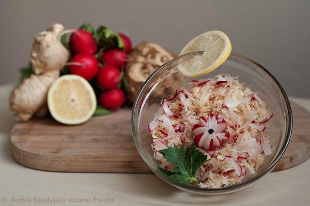 Surówka z selera, rzodkiewki i imbiru