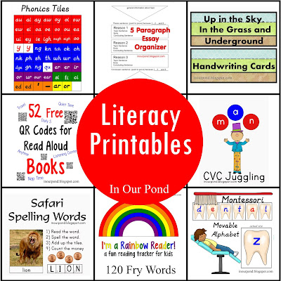 FREE Literacy Printable from In Our Pond