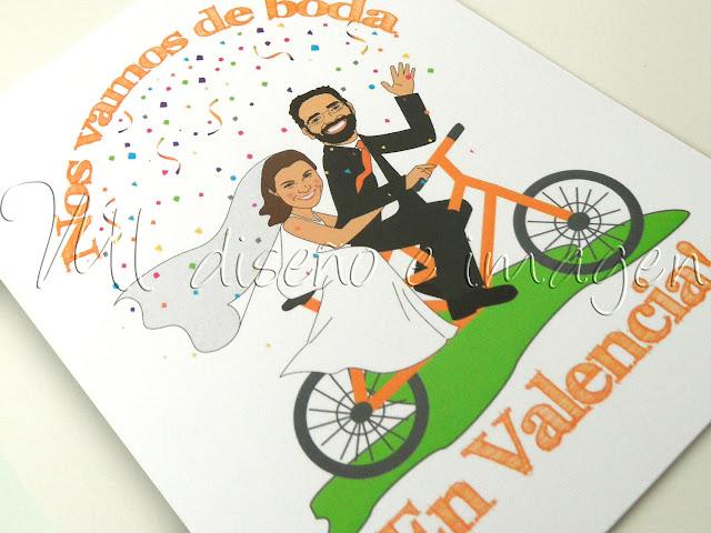 Invitaciones de boda bicicleta