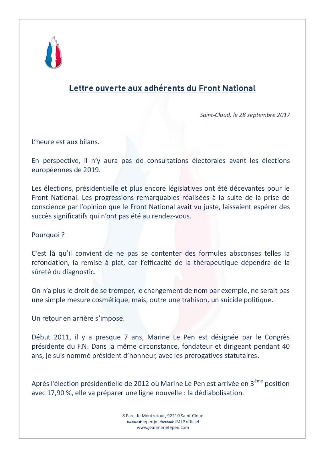 qu\\\'est ce qu\\\'une lettre ouverte Jean Marie LE PEN   Site Officiel: Lettre ouverte aux adhérents du  qu\\\'est ce qu\\\'une lettre ouverte