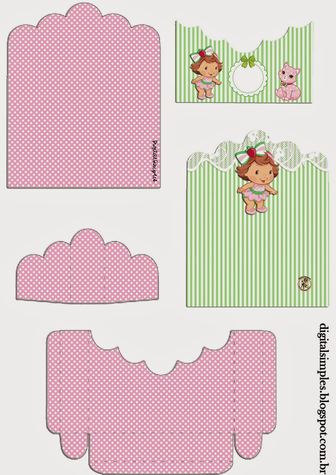 Strawberry Shortcake Baby: Free Printable Candy Package Support.