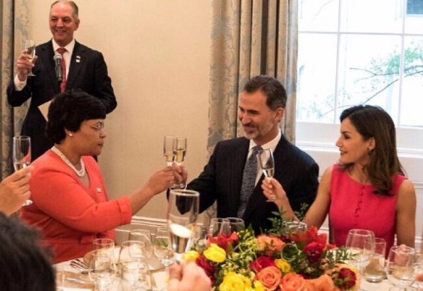 Mayor LaToya Cantrell presented a key to the city to King Felipe and Queen Letizia, as part of the city's 300th anniversary celebration