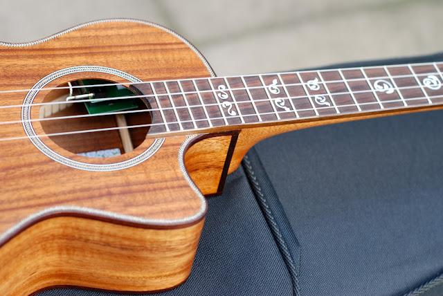 Kala All Solid Acacia Tenor ukulele cutaway