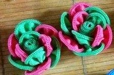 keronsang zip, pink & green flower