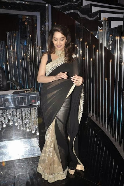 Madhuri Dixit In Half Black And Half Cream Designer Saree