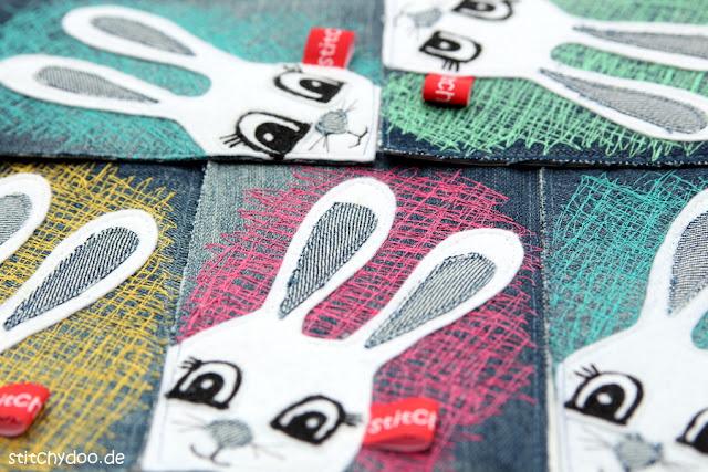 stitchydoo: Stoffkarten aus Jeans mit Osterhasen Applikation