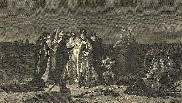 George Washington se rend aux Français et à leurs alliés Indiens