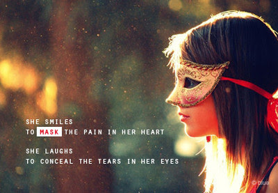 Smile Quotes images: she smile to mask the pain in her heart, she laughs to conceal the tears in her eyes,