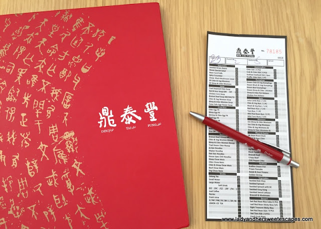 Din Tai Fung menu and order sheet