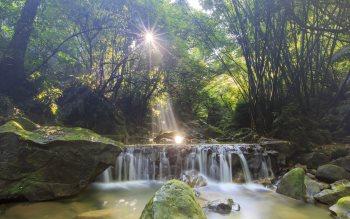 Wallpaper: Waterfall and Sun Rays