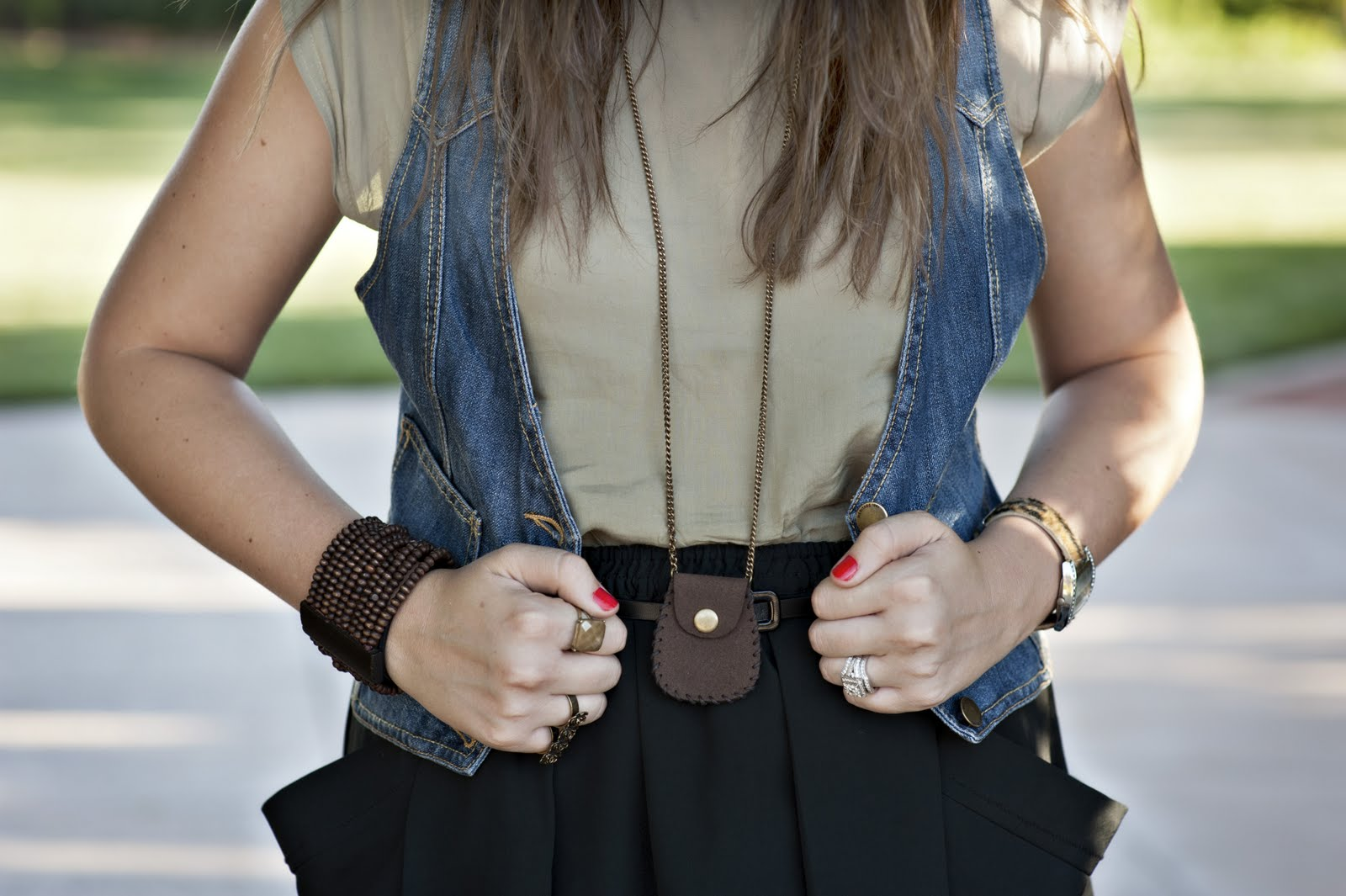 Jean Vest, Green top, Case Necklace